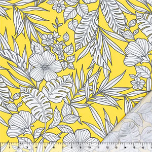 Gray Outline Tropical Floral on Lemon Bamboo French Terry Spandex Blend Knit Fabric