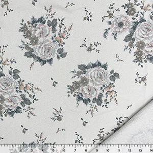 Muted Ice Pink Blue Rose Floral on Light Gray French Terry Knit Fabric
