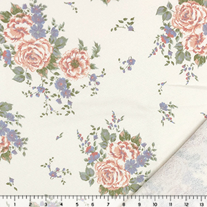 Muted Dusty Pink Orchid Rose Floral on Light Cream French Terry Knit Fabric