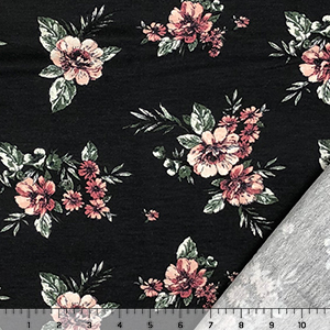 Peachy Mauve Antiqued Floral on Black French Terry Blend Knit Fabric