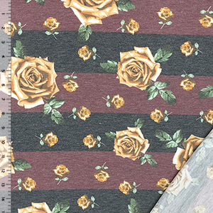 Gold Rose Floral on Black Burgundy Stripe French Terry Blend Knit Fabric