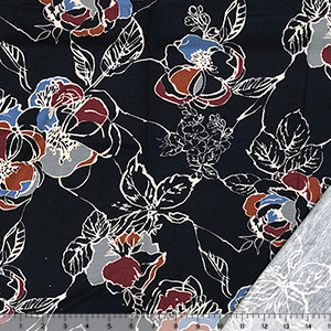 Jewel Drawn Floral on Midnight Blue French Terry Blend Knit Fabric