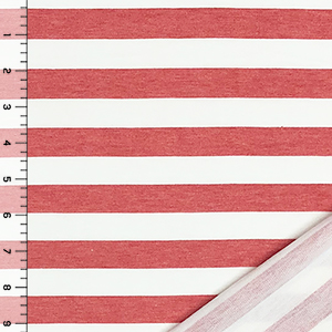 Denim Red White Stripe French Terry Blend Knit Fabric