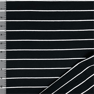 Black & Small White Stripe French Terry Knit Fabric