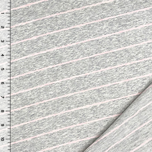 Ice Pink Diagonal Stripe On Heather Gray French Terry Spandex Knit Fabric