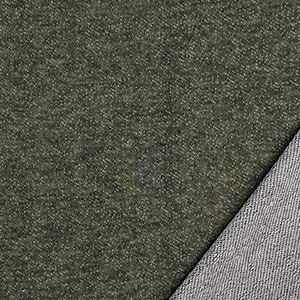 Denim Olive Solid French Terry Blend Knit Fabric