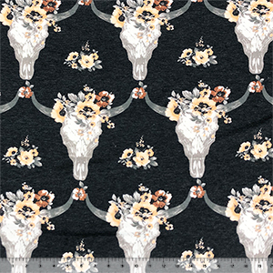Big Floral Cow Skulls on Heather Black French Terry Blend Knit Fabric