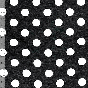 White Dots on Heather Black French Terry Knit Fabric