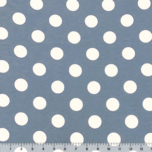 White Dots on Chalk Blue French Terry Knit Fabric