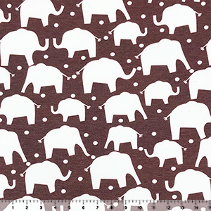 Elephant Silhouettes on Heather Chocolate French Terry Knit Fabric