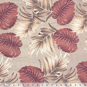 Rust Cafe Big Palm Leaves on Taupe French Terry Knit Fabric