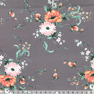 Big Orange Pink Floral on Gray French Terry Knit Fabric