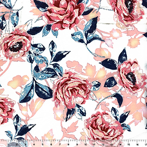 Big Pink Peach Blue Floral on White French Terry Knit Fabric