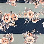 Peachy Floral On Big Aqua Blue Heather Stripes French Terry Knit Fabric