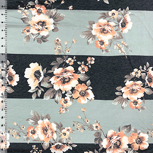 Peachy Floral On Big Aqua Black Heather Stripes French Terry Knit Fabric