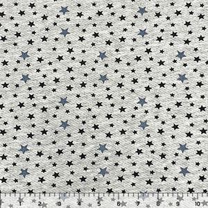 Charcoal Black Mixed Stars on Heather Gray French Terry Knit Fabric