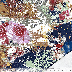 Half Yard Painted Vintage Floral Garden on White French Terry Knit Fabric
