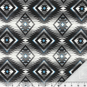 Vintage Blue Black Southwest Diamonds on White French Terry Knit Fabric