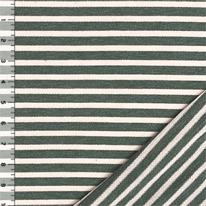 Olive Heather & Beige Stripe French Terry Blend Knit Fabric
