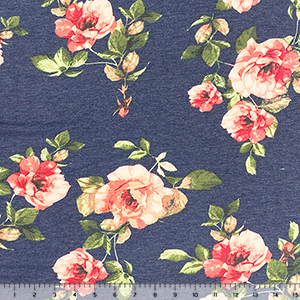 Big Pink Photo Roses on Denim Blue French Terry Blend Knit Fabric