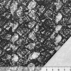 Gray Black Snakeskin on White French Terry Knit Fabric