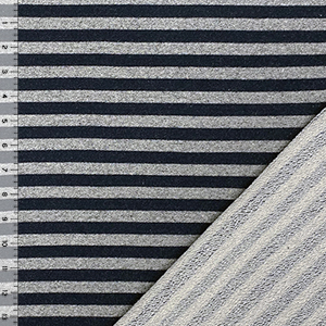 Deep Navy Blue Heather Gray Stripe French Terry Knit Fabric