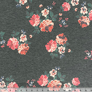 Red Fuchsia Floral on Denim Black French Terry Blend Knit Fabric