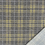 Mustard Gray Plaid on Denim Black French Terry Blend Knit Fabric