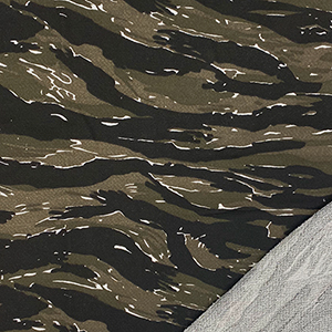 Olive Black White Camo French Terry Knit Fabric