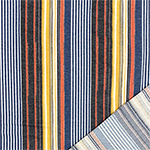 Denim Mustard Red Vertical Multi Stripe French Terry Blend Knit Fabric