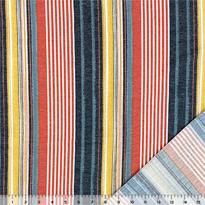 Red Mustard Black Vertical Multi Stripe French Terry Blend Knit Fabric