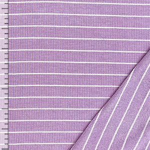 White Pinstripe on Lilac Ribbed French Terry Blend Knit Fabric