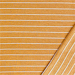 White Pinstripe on Gold Ribbed French Terry Blend Knit Fabric