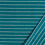 White Pinstripe on Teal Ribbed French Terry Blend Knit Fabric