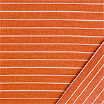 White Pinstripe on Terracotta Ribbed French Terry Blend Knit Fabric