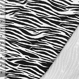Black Tiger Animal Stripes on White French Terry Knit Fabric