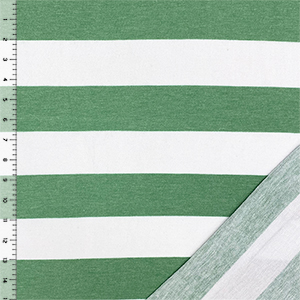 Grass Green White Big Stripe French Terry Blend Knit Fabric