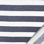 Denim Blue White Stripe French Terry Blend Knit Fabric