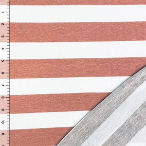 Mauve Pink White Stripe French Terry Blend Knit Fabric