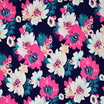Hot Pink Teal Floral on Navy Single Spandex Knit Fabric