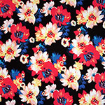 Coral Red Blue Floral on Navy Single Spandex Knit Fabric