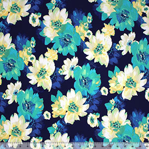 Teal Green Blue Floral on Navy Single Spandex Knit Fabric