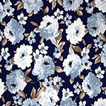 Wedgwood Blue Roses on Navy Single Spandex Knit Fabric