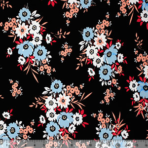 Mod Floral Bouquets on Black Single Spandex Knit Fabric