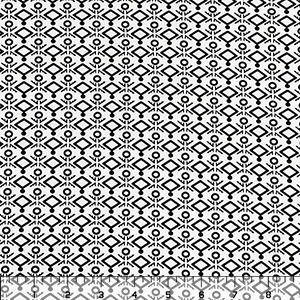 Black Glyphs on White Single Spandex Knit Fabric