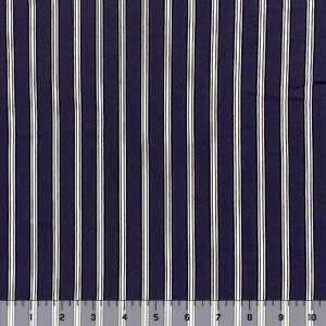 Midnight Navy White Vertical Stripes Single Spandex Knit Fabric