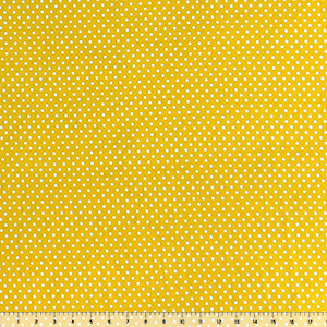 White Polka Dots on Sunshine Single Spandex Knit Fabric