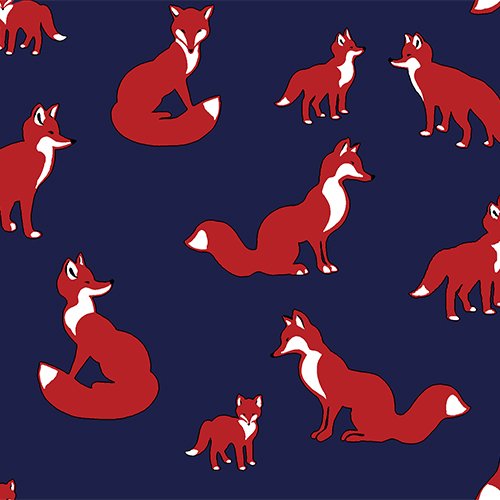 Pure Vintage Fox Family Cotton Spandex Knit Fabric