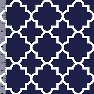 Pure Vintage Blue Quatrefoil Cotton Spandex Knit Fabric