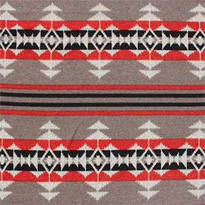 Navajo Indian Blanket Red Mushroom Hacci Sweater Knit Fabric